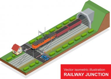 Vector isometric illustration of a railway junction. Railway junction consist of modern high speed train railway tunnel, Railway crossing and Railroad isolated elements for rail freight transportation