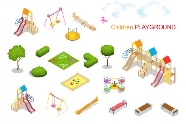 Children playground. Flat 3d isometric vector illustration for infographics. Swing carousel sandpit  slide rocker  rope ladder bench.