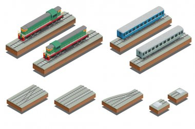 Fast Train coach and diesel electric locomotive. Vector isometric illustration of a Fast Train. Vehicles designed to carry large numbers of passengers. Flat Style.