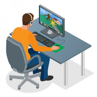 Gamer playing on pc. Concentrated young gamer in headphones and glasses using computer for playing game. Man looking at the laptop screen. Flat 3d isometric vector illustration