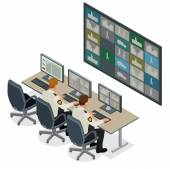 Security guard watching video monitoring surveillance security system. Mans In Control Room Monitoring Multiple Cctv Footage. Video surveillance concept. Flat 3d isometric vector illustration