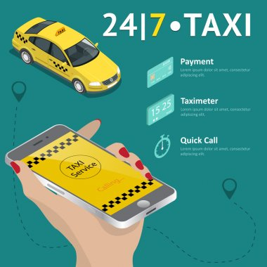 Taxi service. Taxi mobile app template set. Smartphone and touchscreen, map and pointer, gps navigation. Vector illustration.