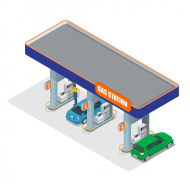 Gas station 3d isometric. Gas station concept. Gas station flat vector illustration. Fuel pump, car, shop, oil station, gasoline. Gas station EPS. Refilling cleaning shopping service.