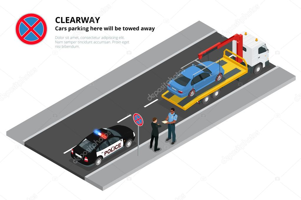 Isometric police fines car design flat isolated  3D car on Tow truck