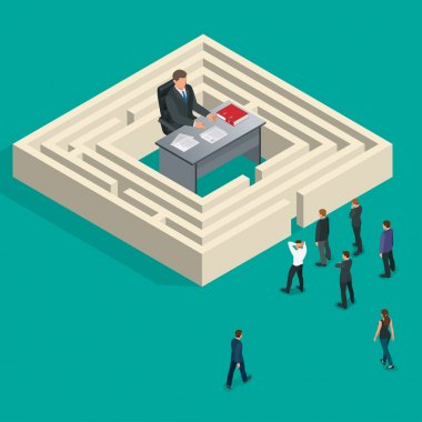 Bureaucrat in the maze. People stand in a queue. Bureaucracy concept. Flat 3d vector isometric illustration.