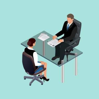 Business people in suit sitting at the table. Meeting. Job interview. Job applicants. Concept of hiring worker. Candidate or recruitment, hire and interviewer. Flat 3d  isometric illustration.