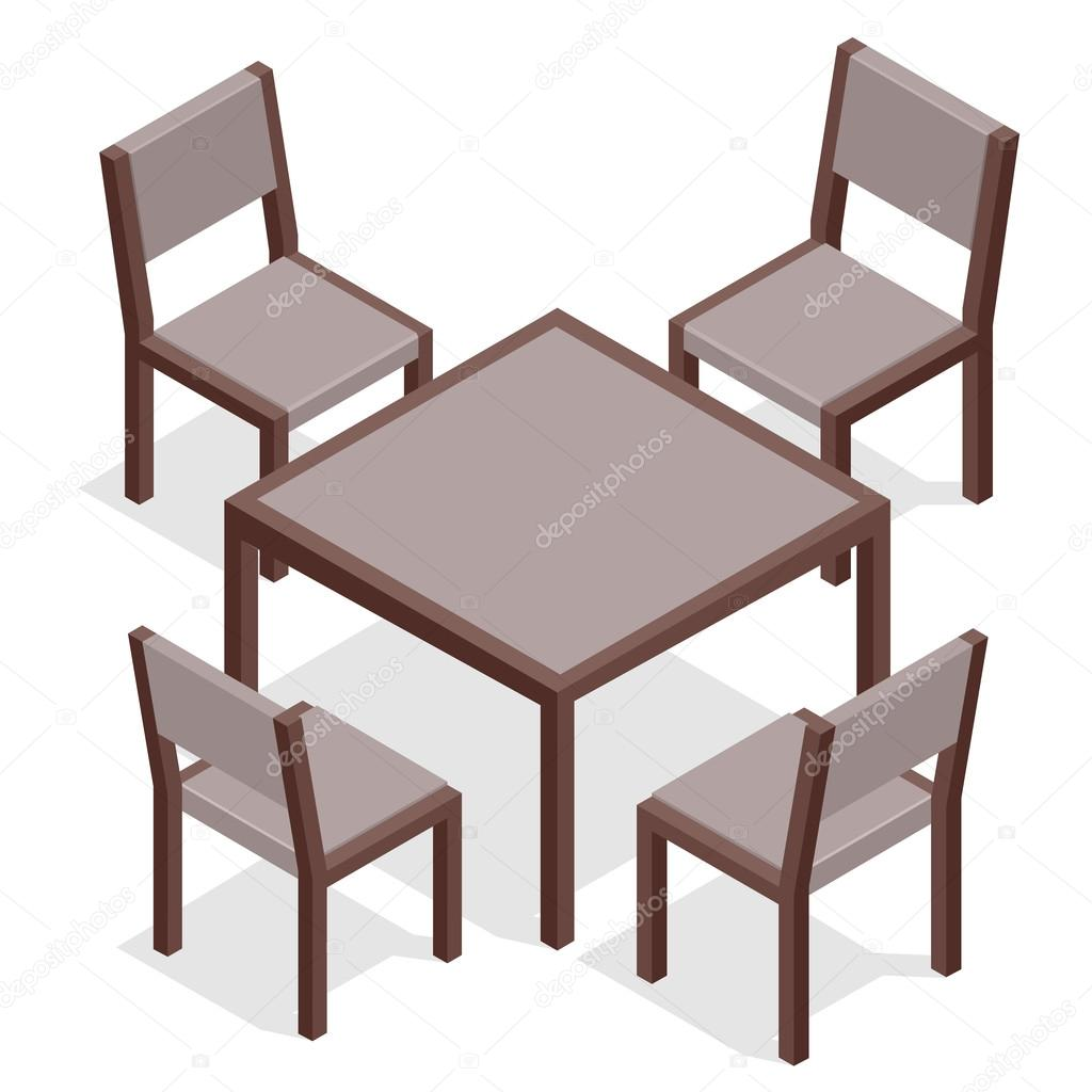 Wooden Table With Chairs For Cafes Modern Table And Chairs On White Background Flat 3d Isometric Vector Illustration Stock Vector C Galaktika New 103242324