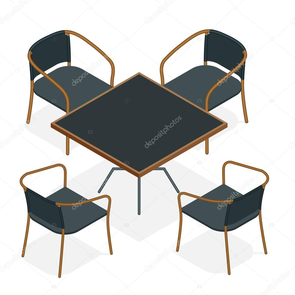 Table With Chairs For Cafes Modern Table And Chairs On White Background Flat 3d Isometric Vector Illustration Stock Vector C Galaktika New 103242382