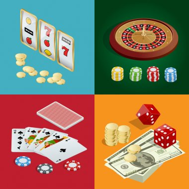 Casino concept. Casino background with cards, chips, craps and roulette. Flat 3d vector isometric illustration