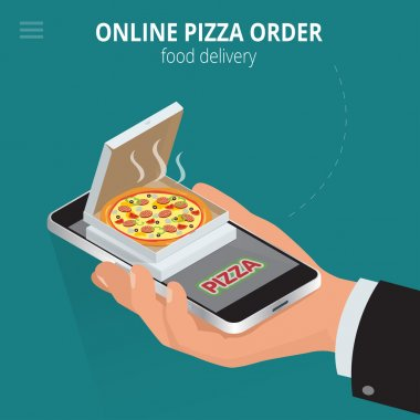 Online pizza. Ecommerce concept - order food online website. Fast food pizza delivery online  service. Flat 3d isometric vector illustration.