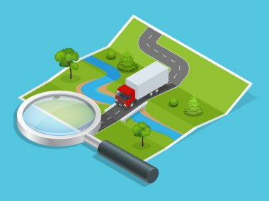 Logistics network. Transportation of less than truck shipments. Online quotation request. Online calculator loading goods. Calculation of distances between cities. 3d isometric vector illustration