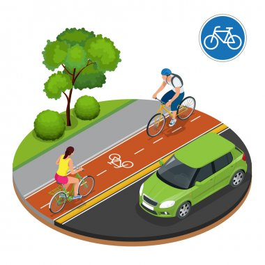 Bikers in city. Cycling on bike path. Bicycle road sign and bike riders. Flat 3d vector isometric illustration. People riding bikes. Bikers and bicycling. Sport and exercise.