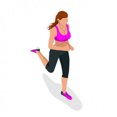 Woman running. Beautiful girl jogging. Woman run. How to run faster banner. Lets run. Run. Fitness elements. Vector flat design of fitness. Fitness woman. Fitness equipments. Running. Jogging.