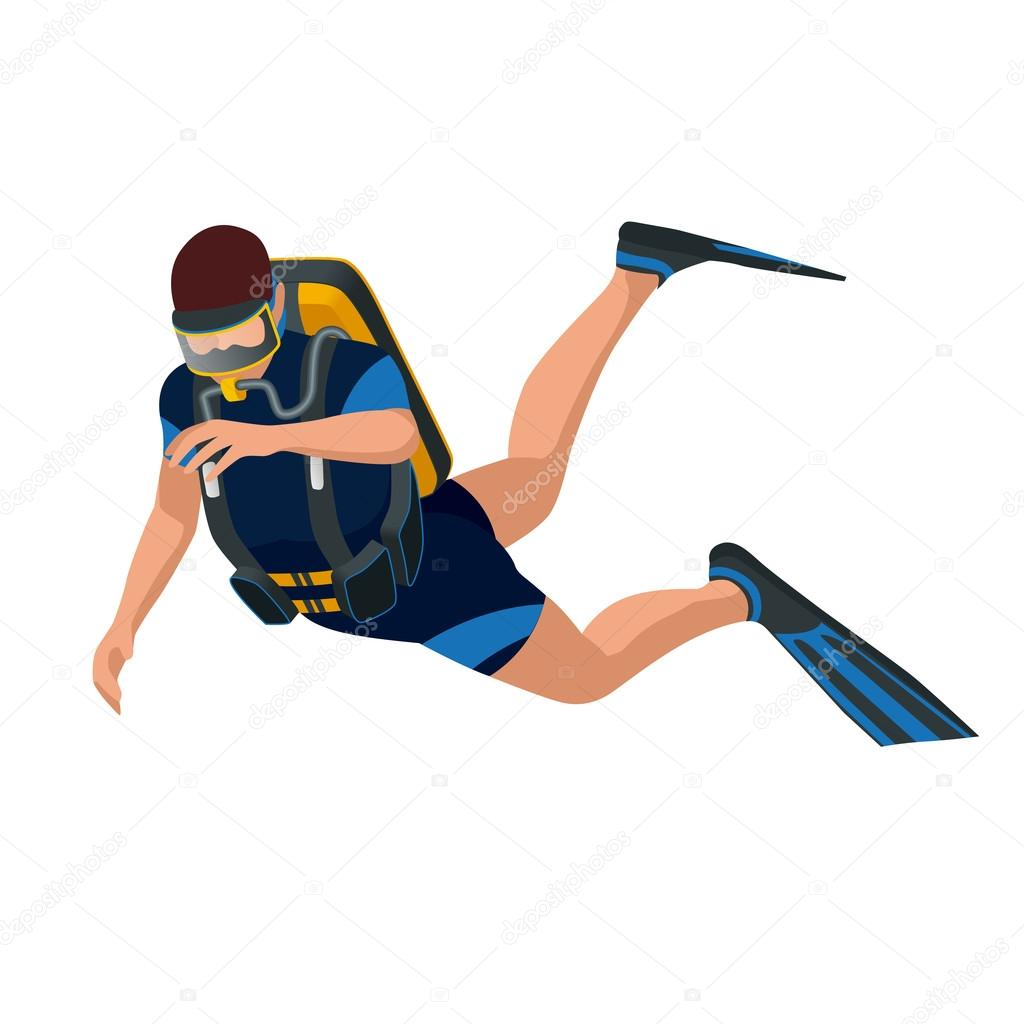 Scuba diver diving man front view. Scuba diving flat 3d isometric vector illustration. Scuba diver swimming under water.