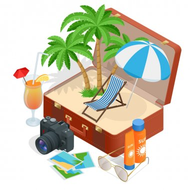 Trip to Summer holidays. Travel to Summer holidays. Vacation. Road trip. Tourism. Travel banner. Open suitcase with landmarks. Journey. Travelling 3d isometric illustration. Modern flat design banner