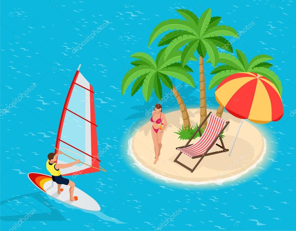 Trip to Summer holidays. Travel to Summer holidays. Vacation. Windsurfing. Tourism. Travel banner. Journey. Travelling 3d isometric illustration. Modern flat design banner.