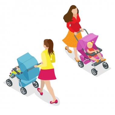 Beautiful mother on walking with baby in stroller. Isometric 3d vector illustration. Woman with baby and pram isolated on white. clip art vector