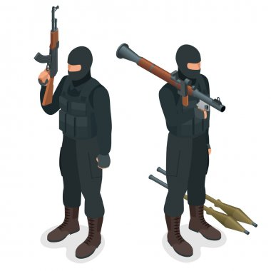 Spec ops police officers SWAT in black uniform. Soldier, officer, sniper, special operation unit, SWAT flat 3d isometric illustration. Soldier with AT rocket launcher.