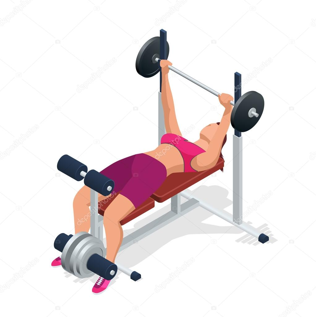 Stupendous Young Woman With Barbell Flexing Muscles In Gym Gym Camellatalisay Diy Chair Ideas Camellatalisaycom