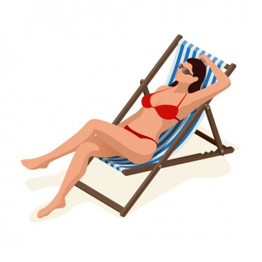 Beautiful woman in white bikini lying on a sun lounger sunbathing in the sunshine.Relaxation holiday, sunbathing and leisure, girl body.  Flat 3d vector isometric illustration