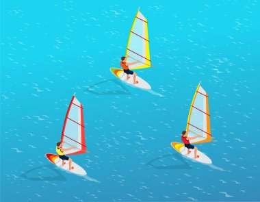 Windsurfer on a board for windsurfing. Creative vacation concept. Water Sports. Windsurfing, Fun in the ocean, Extreme Sport, Windsurfing icon, Windsurfing flat 3d vector isometric illustration.