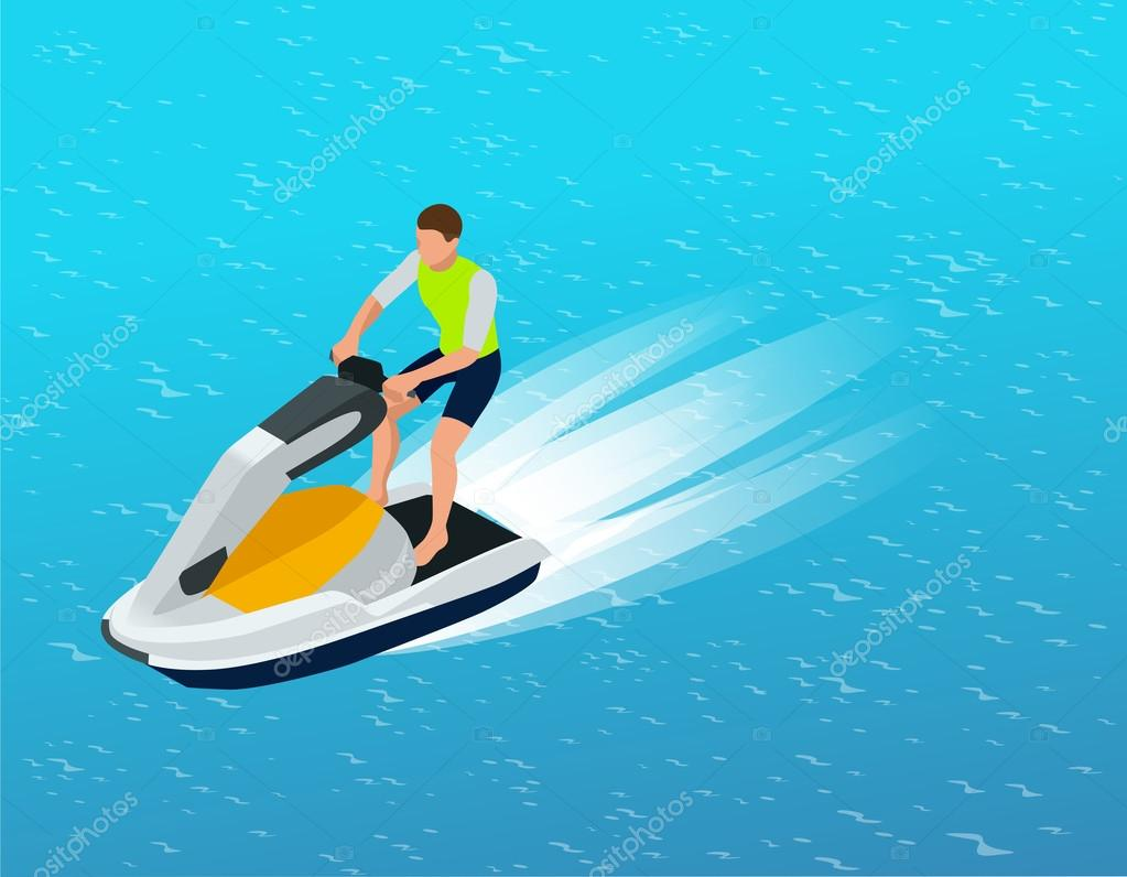 Young Man on Jet Ski, Tropical Ocean. Creative vacation concept. Water Sports.  Fun in the ocean, Extreme Sport, water skiing  flat 3d vector isometric illustration.
