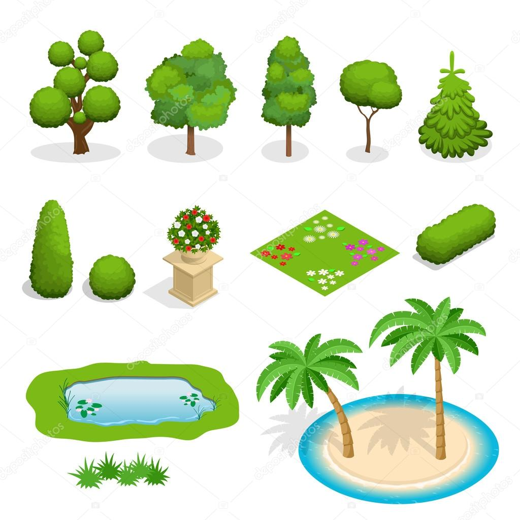Isometric flat vector trees elements for landscape design. Diversity of trees set on white. Trees, shrubs, flowers, flower bed, palm illustration.