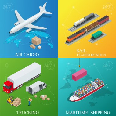 Global logistics network. Flat 3d isometric vector illustration. Set of air cargo trucking rail transportation maritime shipping. On-time delivery Vehicles designed to carry large numbers cargo.