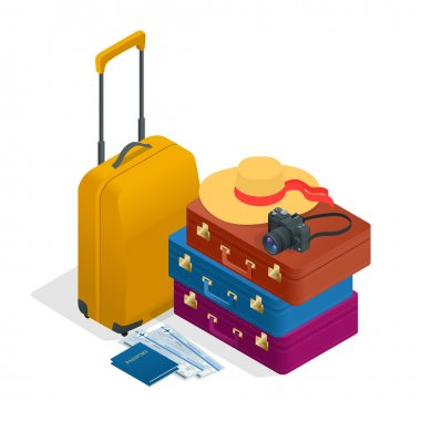 Travel bags, passport, foto camera and travel ticket. Isometric flat 3d vector illustration.