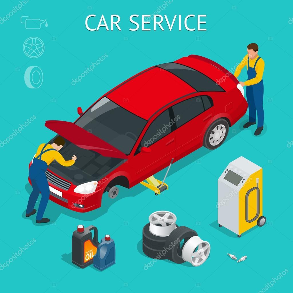 Auto-Service-Center  Autoservicearbeitsprozess isometrisch