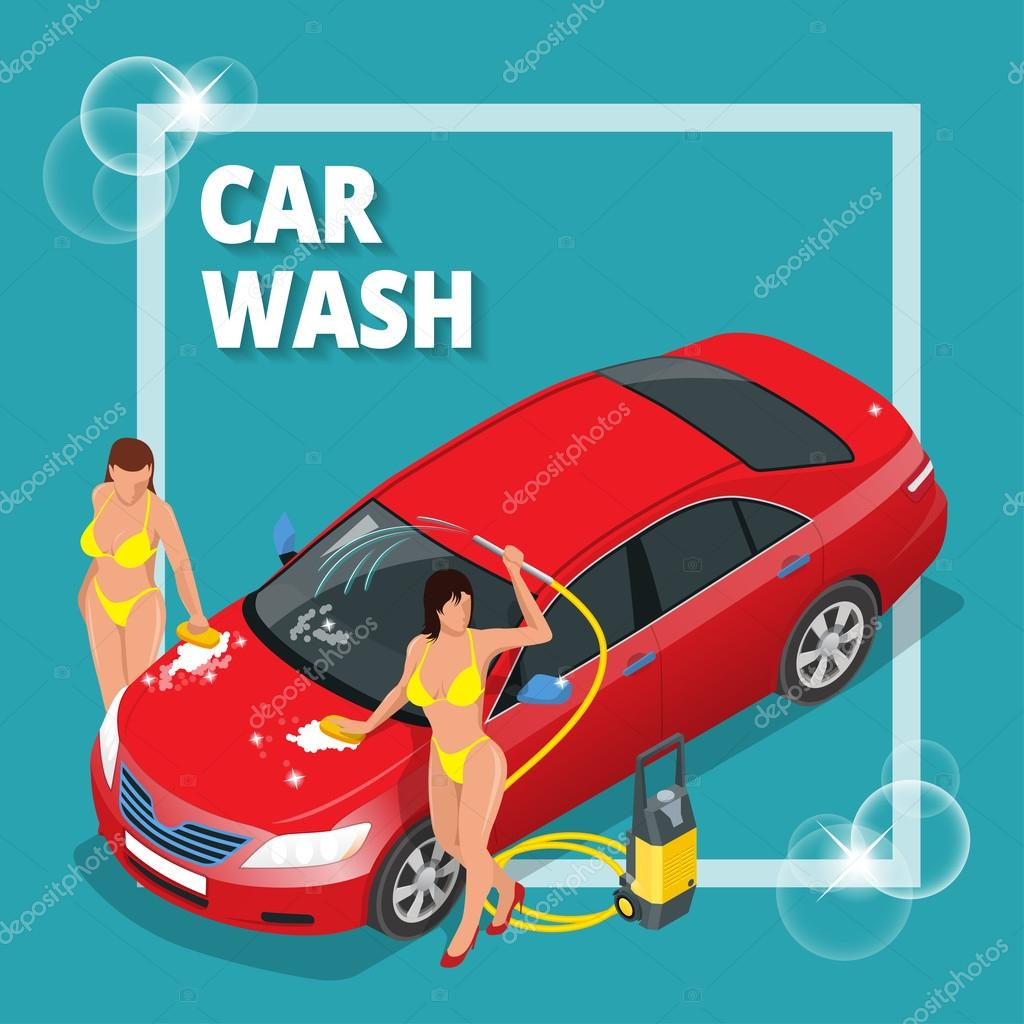 Business Concept Car Wash Car Wash Auto Cleaner Washer