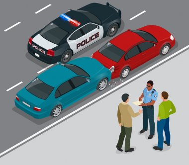 Auto accident involving two cars on a city street. Traffic policeman in car accident scene. Two Drivers Arguing After Traffic Collision. Flat 3d vector isometric illustration