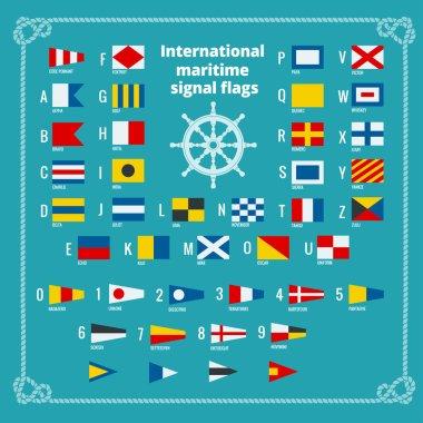 International maritime signal flags. Sea alphabet. Flat vector illustration.