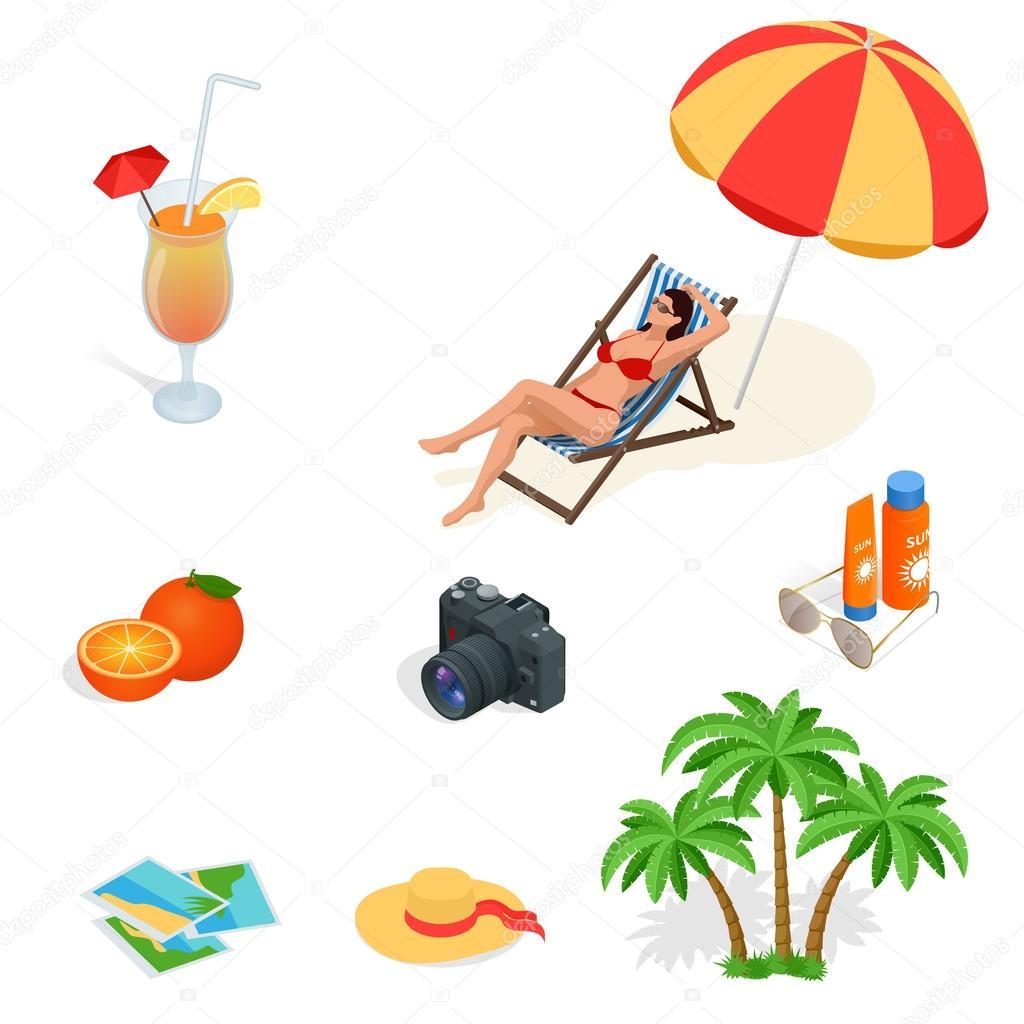 strand icon set m dchen im badeanzug auf einem liegestuhl orangensaft sonnenschirm palme. Black Bedroom Furniture Sets. Home Design Ideas