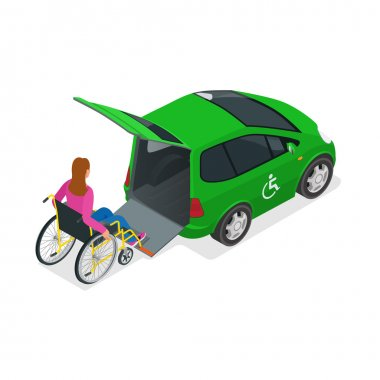 Taxi or car for woman on wheelchair. Vehicle with a lift. Mini car for physically disabled people. Flat 3d vector isometric illustration