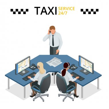 Vector concept of taxi service, technical car support and dispatcher call center. Female operator on call center.