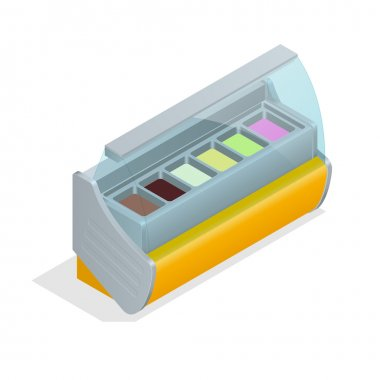 Refrigeration equipment for ice cream for supermarkets, shops, cafes and restaurants. Flat 3d isometric illustration.