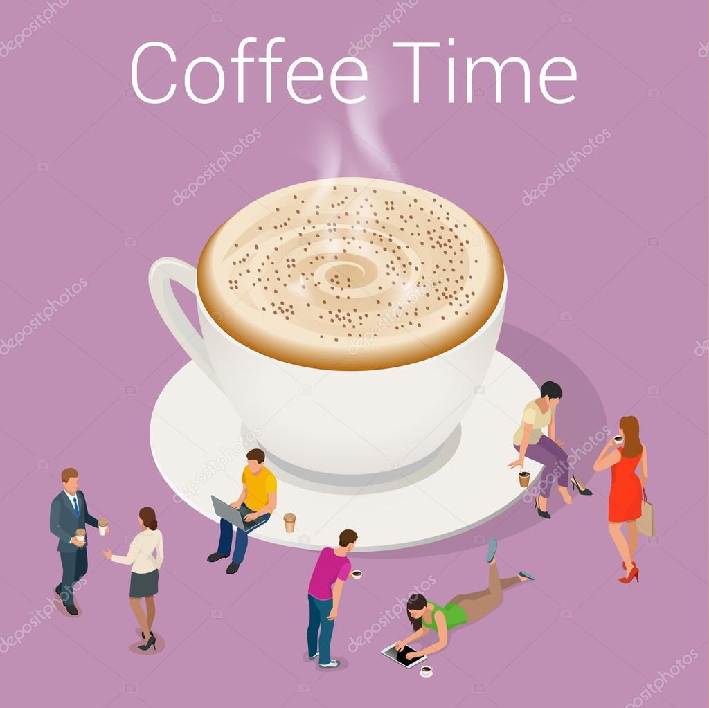 Coffee time or coffee break. Group People Chatting ...