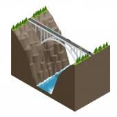 Můstek přes řeku v horách. Konstrukce mostu plochá izometrická vektorová ilustrace.