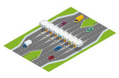 Fotografie Highway toll. Turnpike tollson. Road payment checkpoint with toll barriers on the highway, cars and trucks. Flat 3d vector isometric illustration