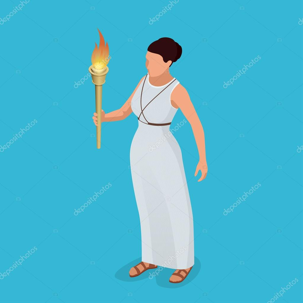 Greek woman with a torch in her hand woman archer the greek greek woman with a torch in her hand woman archer the greek goddess artemis goddess of the greek pantheon flat 3d isometric illustration symbol of biocorpaavc Choice Image
