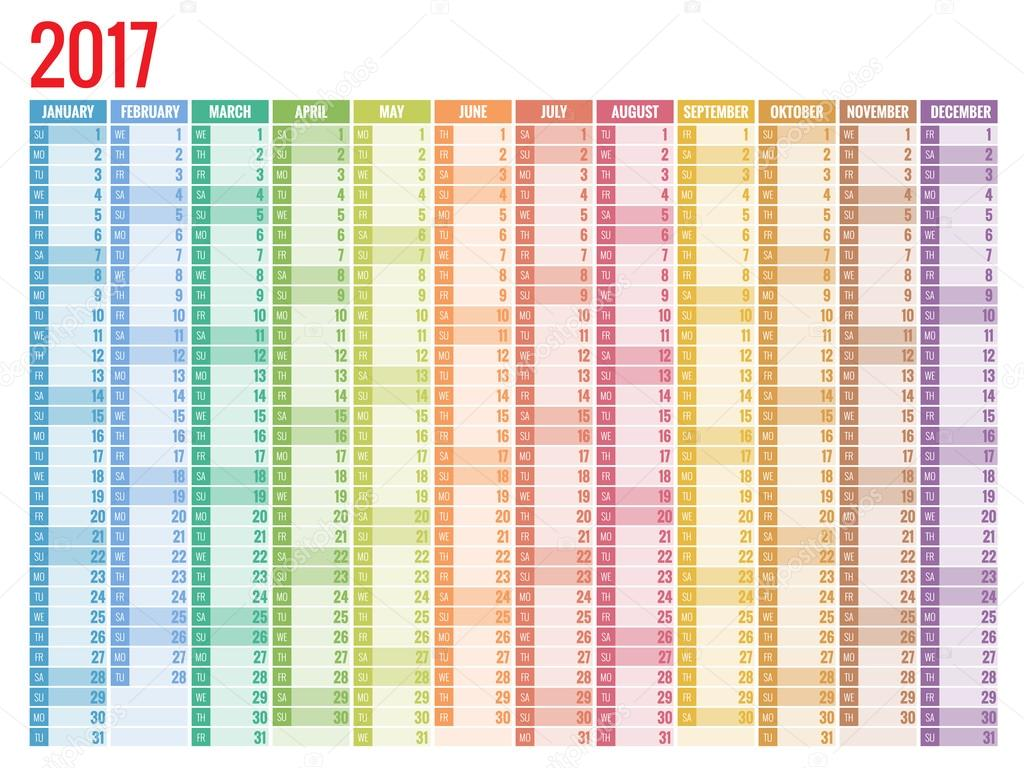 Design plat simple de calendrier 2017 image vectorielle - Calendrier design ...