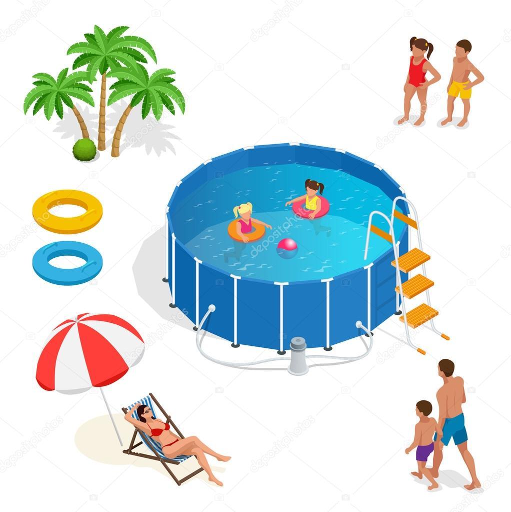 Isometrische draagbare plastic zwembad en mensen for Zwembad plastic