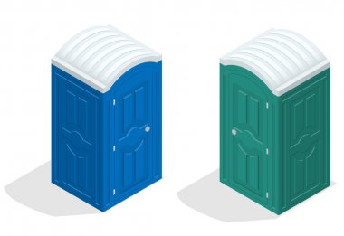 Isometric bio toilet cabin. Blue and green. Hiking services. Flat color style vector icon