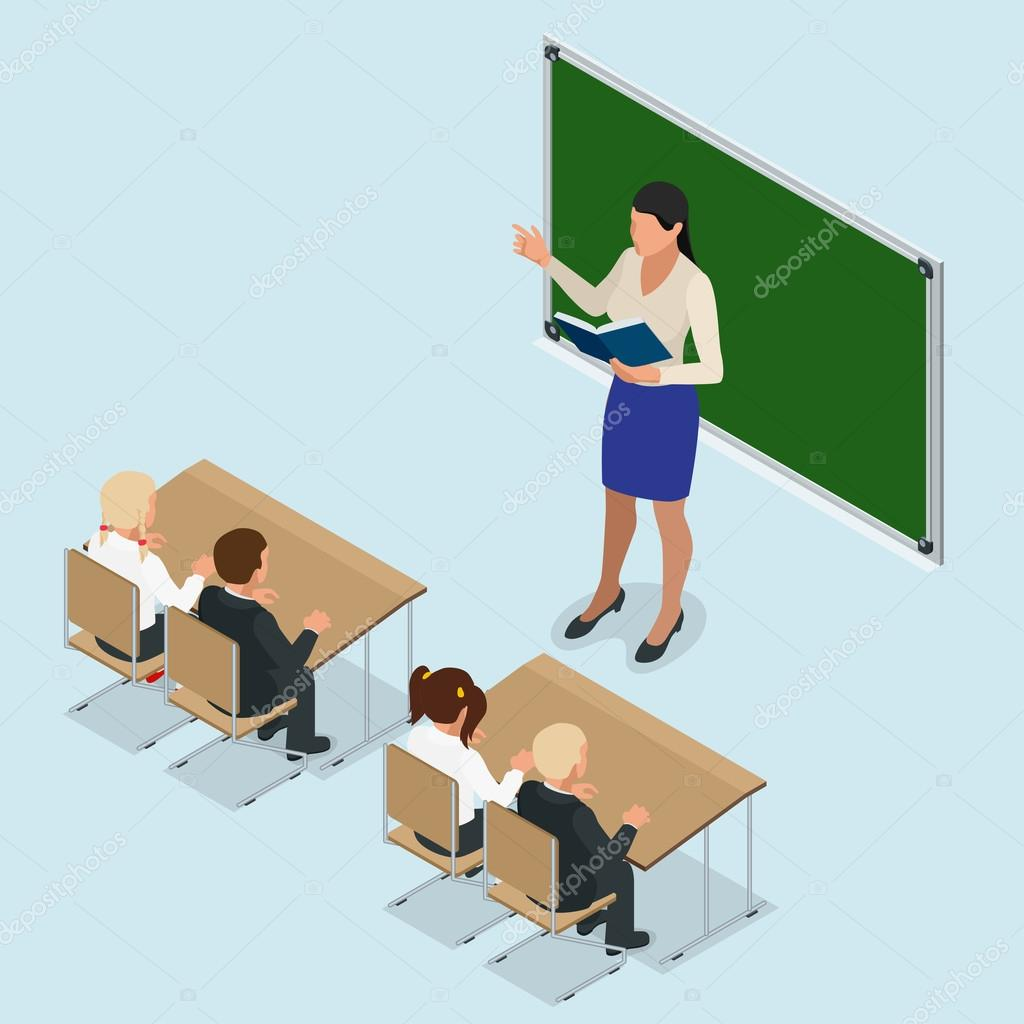 classroom table vector. isometric classroom with green chalkboard, teachers desk, pupils tables and chairs. flat 3d cartoon illustration \u2014 vector by galaktika_new table