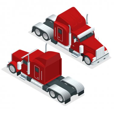 Isometric American Show truck tractor. Transporting large loads over long distances. Logistics network. Intermodal freight transport.