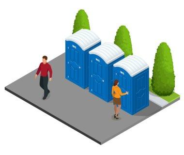 Isometric Bio mobile toilets in the city. Blue bio WC in the city. Hiking services. Flat color style illustration icon Bio toilet. Bio toilet concept. Street bio toilet.