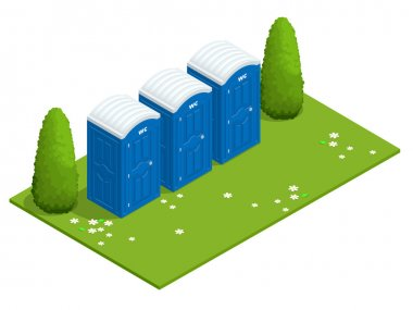 Isometric Bio mobile toilets on grass. Blue bio toilet in park. Hiking services. Flat color style illustration icon Bio toilet. Bio toilet concept. Street bio toilet.