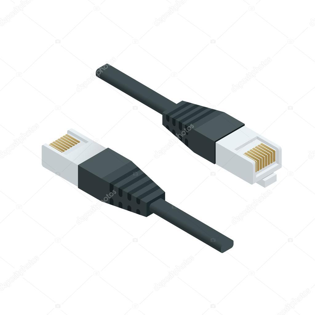 Isometrische Lan Kabel Netzwerk Internet Symbol Vektor Datenkabel ...