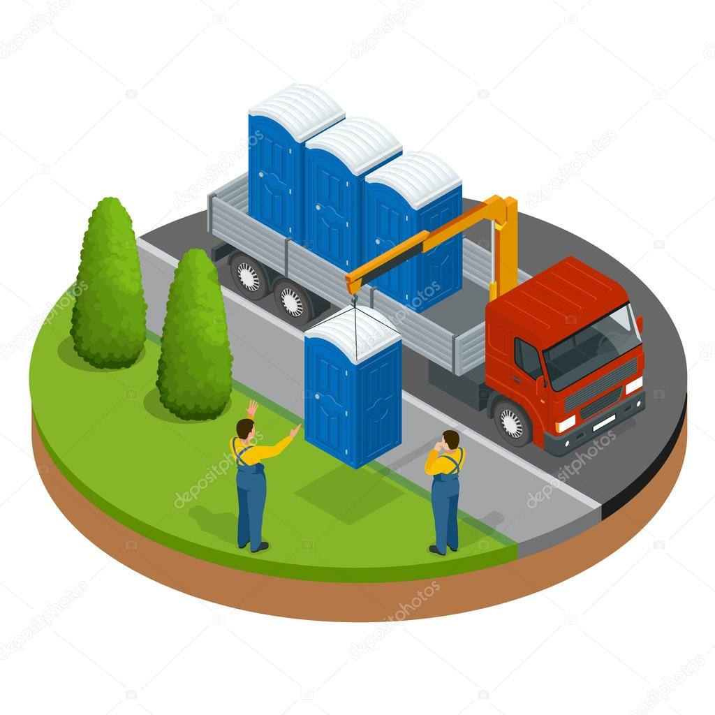 Delivery or shipping bio toilet cabins. Blue bio toilet in city. Hiking services. Flat color style vector illustration icon.